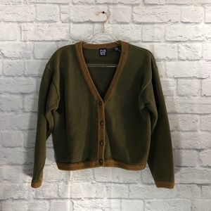 Gap vintage green and tan button up cardigan